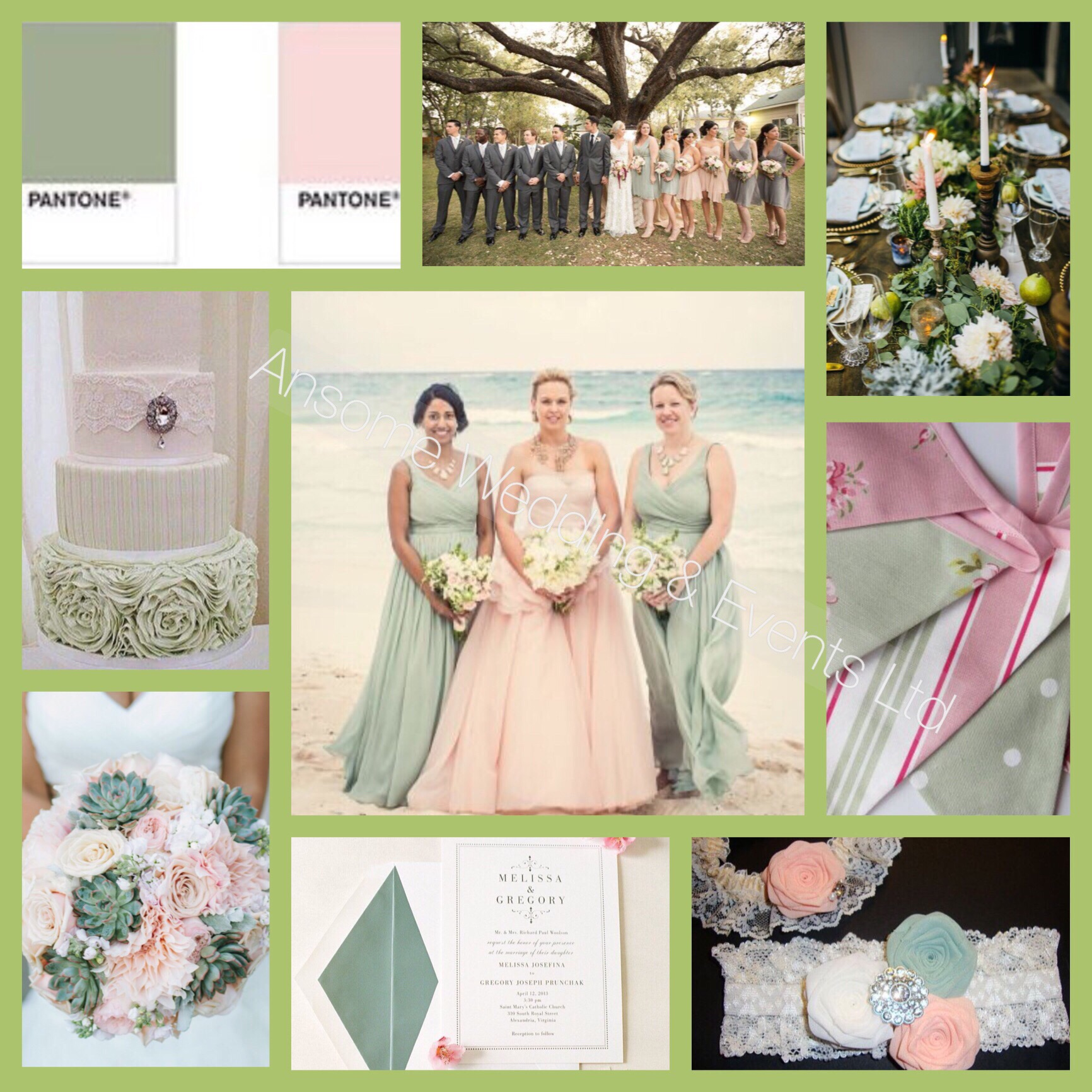 Sage Green And Blush Pink Wedding Ansome Weddings And Events